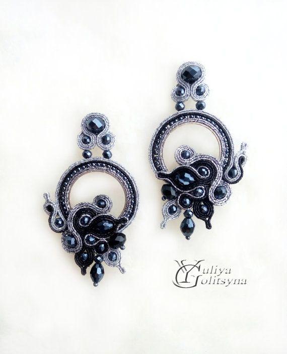 Soutache Earrings Oorbellen sieraden Soutache Sutažnye Black