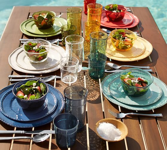 "Rope Outdoor Dinnerware,  Green & yellow 4 bowls on sale $21 (tur $26) G&Y 4 salad plates $24; Turqouise  $30 (9"") G&Y 4 dinner $27 and t $34 (11.5"")"