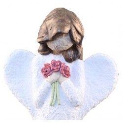 Engel Med Blomster - Farge Hvit, brunt hår