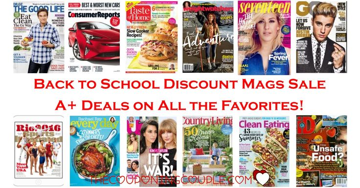 WOW! It is the Back to School Discount Mags Sale! Some of your favorites plus some awesome new ones are included! Dr Oz The Good Life, Sports Illustrated (Digital) and more!  Click the link below to get all of the details ► http://www.thecouponingcouple.com/back-to-school-discount-mags-sale-starting-at-4-95/ #Coupons #Couponing #CouponCommunity  Visit us at http://www.thecouponingcouple.com for more great posts!
