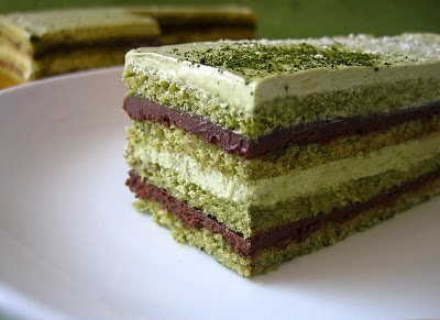 Recipe for Matcha (green tea) Opera Cake ~ Yum!
