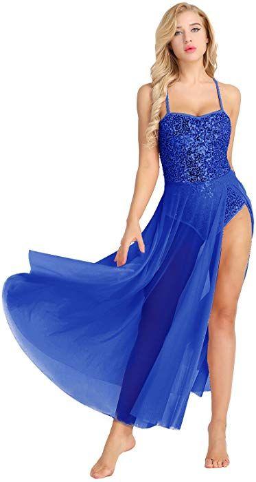 12340c05584c Amazon.com: iiniim Lyrical Dance Dress Adult Contemporary Costumes Sequins  Camisole High-Low Maxi Dresses Blue L: Clothing