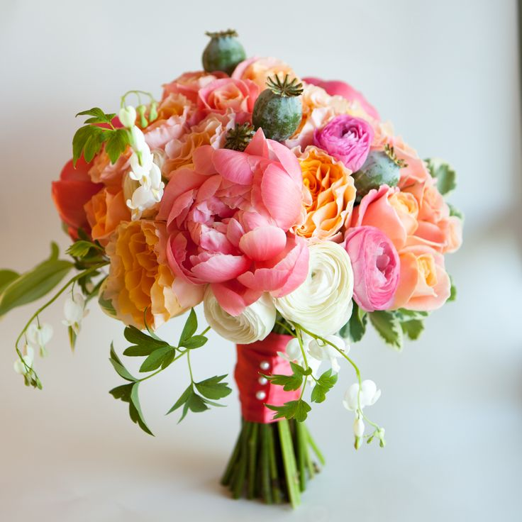 beautiful brides bouquet coral charm peonies ranunculus bedding heart garden roses