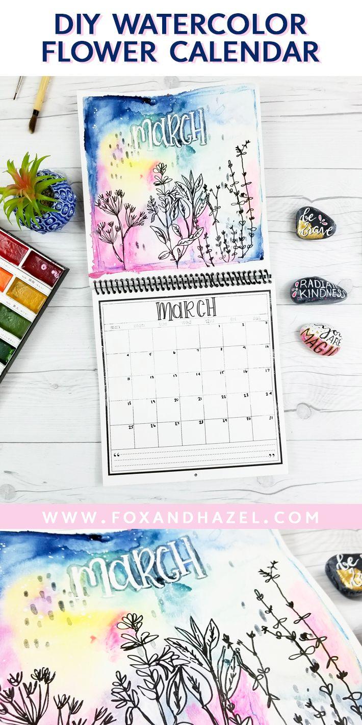 DIY Watercolor Flowe Calendar from Fox + Hazel // #watercolor #mixedmedia #diycalendar #watercolorflower #flowerillustration #makeyourowncalendar