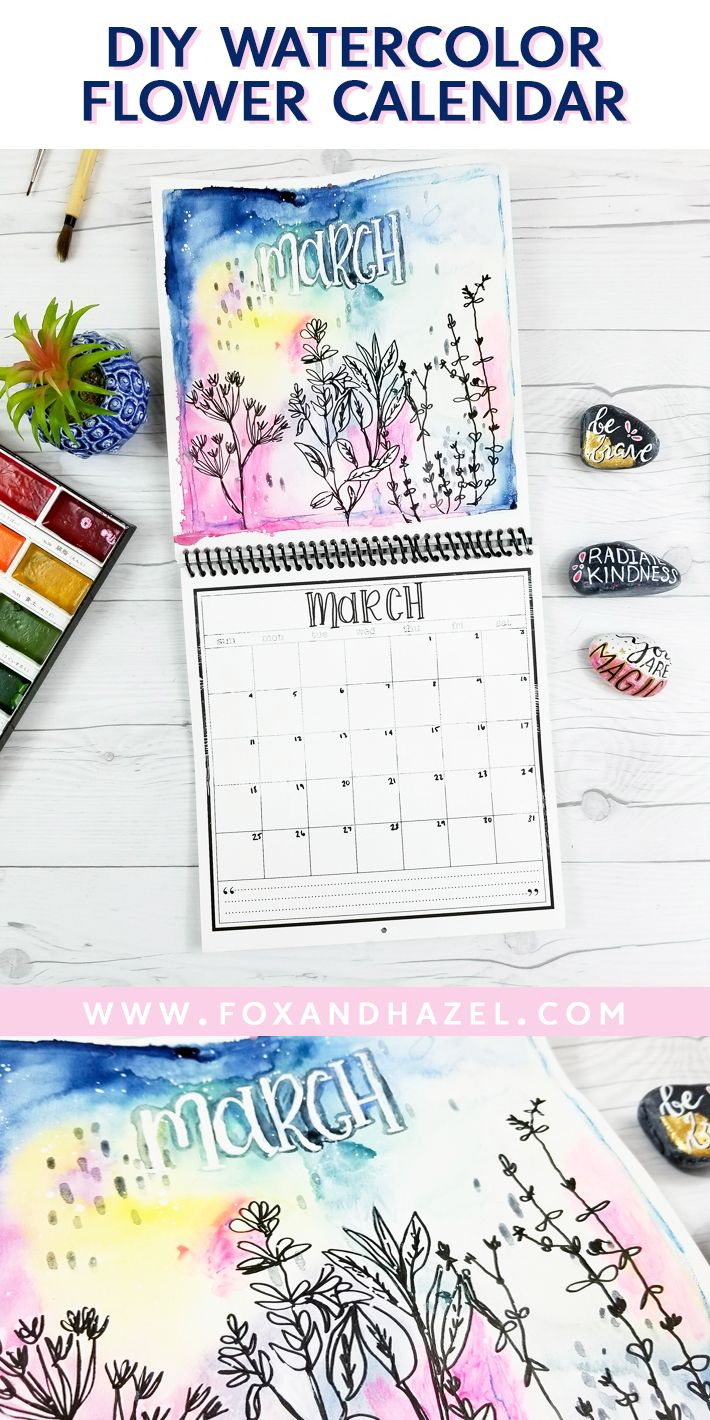 Diy Watercolor Flower Calendar For March Watercolor Flowers