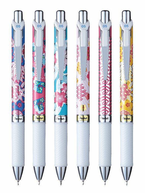 6 X Pentel EnerGel Roller Pen 0.5mm Limited Edition Blue ink special pattern #Pentel