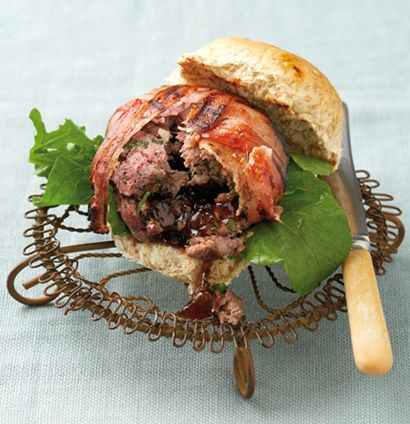 Spicy bacon-wrapped ostrich burger with onion-marmalade centre.