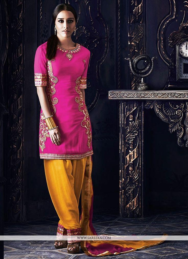 Shraddha Kapoor Magenta Georgette Patiala Suit