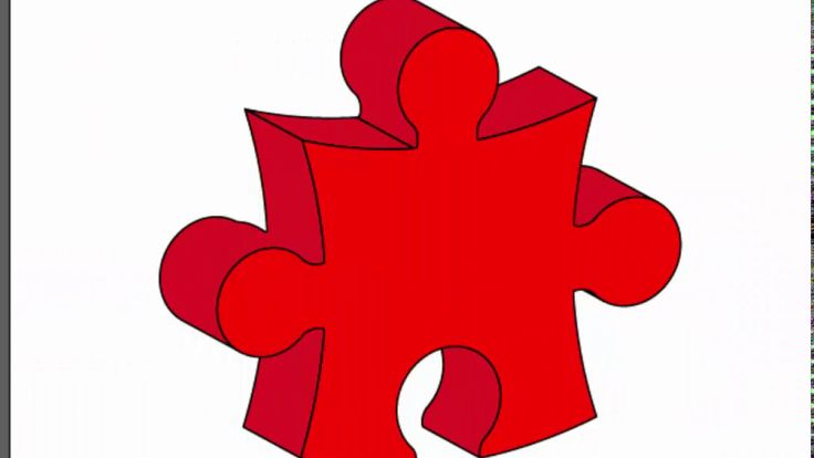 3d puzzle piece - Adobe Illustrator cs6 tutorial. How to draw 3d red puz...