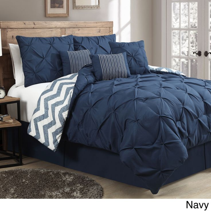 Ella Pinch Pleat Reversible 7-piece Comforter Set - Overstock™ Shopping - Great Deals on Comforter Sets