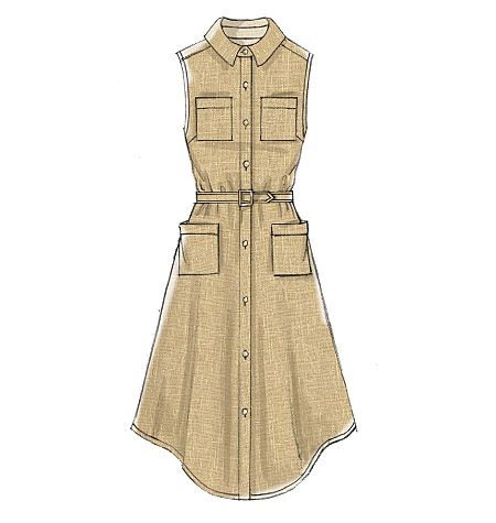 McCall's shirtdress sewing pattern has a flared skirt with hem and sleeve variations. M7351, Misses' Shirtdresses with Pockets and Belt