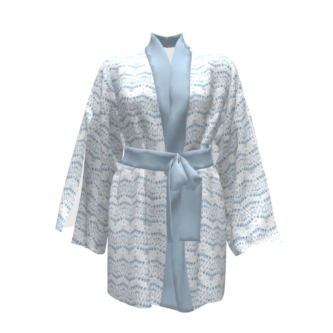 Named Clothing Asaka Kimono made with Spoonflower designs on Sprout Patterns. Scandinavian inspired water color raindrops