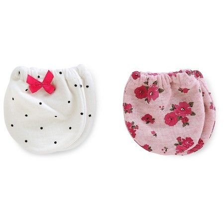 Just One You™Made by Carter's® Baby Girls' 2 Pack Floral Mittens - Pink/White NB : Target