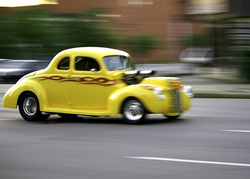 Hot rod driving down York St. in Hamilton, Ontario