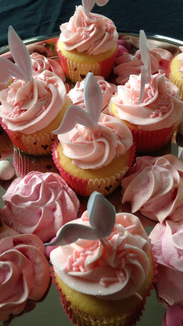 Easter bunny cupcake delights! Pink, sprinkles and edible glitter.... Mmmmmm