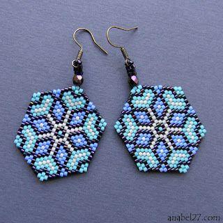 "Earrings ""Cornflower"" (I just like these brick stitch earrings!)"