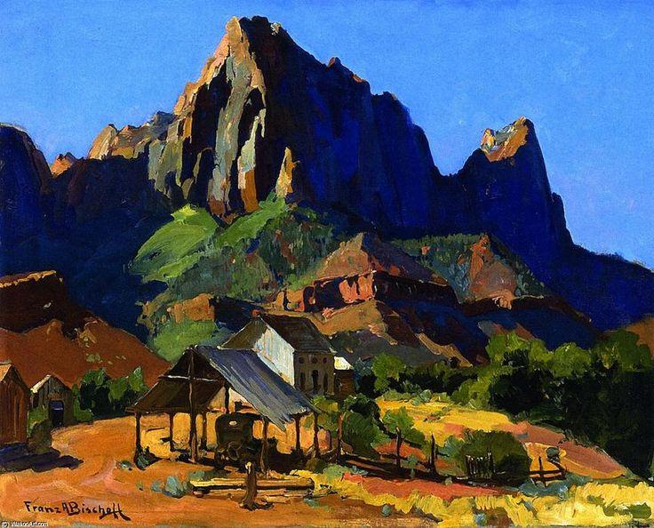 El Centinela, Parque Nacional Zion, Utah, óleo sobre lienzo de Franz Bischoff (1864-1929, Austria)