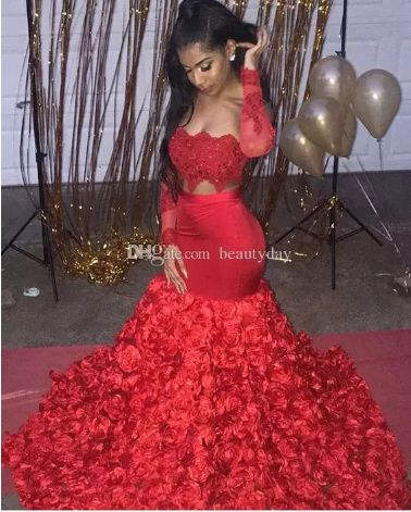 Aso Ebi Style Evening Dresses 2019 3D Rose Flowers for Women Party Wear Backless Abiye Dubai Caftan Red Long Sleeve Plus Size Prom Gowns