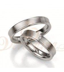 Ασημένιες βέρες γάμου με διαμάντι - breuning - 8019-8020