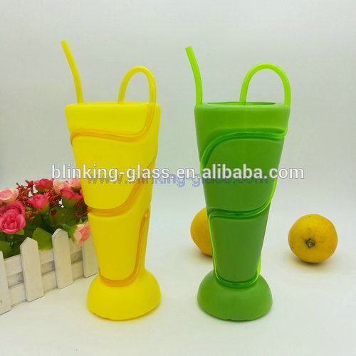 Plastic cup with straw 400ml