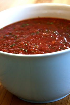 Salsa-this is so easy!!...I made mine with 2 cans of diced tomatoes, 1 can of tomatoes with peppers, 1 tsp salt, 1 tsp cumin, 2 tsp garlic, and a large pile of cilantro...the recipe calls for less, but I like a lot of flavor!