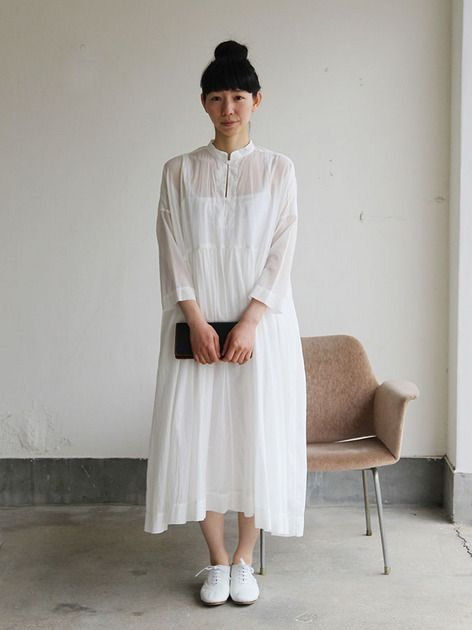 Gather bottom big dress~fine lawn washer(white) 2