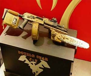 AK-47 Rifle With Chainsaw    Whether you're taking on hordes of zombies or just fighting one up close, the AK-47 rifle with an attached chainsaw is the go to weapon for zombie apocalypse survival. While not yet officially for sale, these unique AK-47 rifles are a must have item for doomsday preppers.