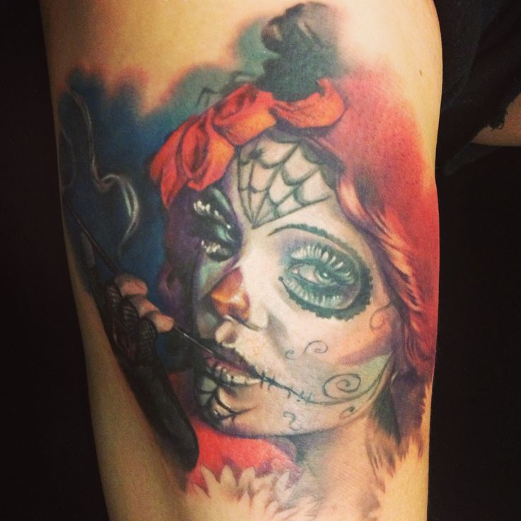 Pin By Laura Kuley On Tattoo: #catrinatattoo #dayofthedead #sugarskull Tattoo By Laura