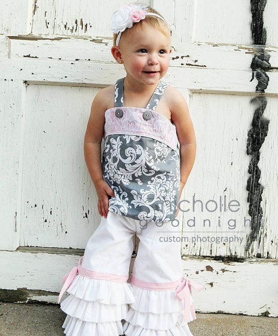 SALE..Buy 2 get 1 Free..Instant Download PDF Sewing Pattern World's Cutest Girl's Triple Ruffle Capri or Full Length Pants, 3-6 M to 8