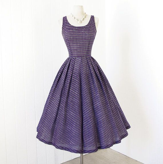 vintage 1950's dress ...gorgeous BETTY BARCLAY amethyst semi-sheer woven stripes full skirt pin-up party dress with rhinestones