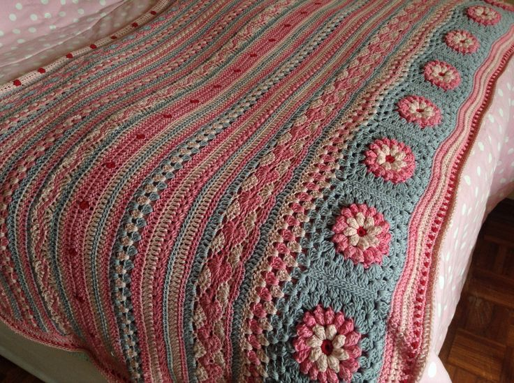Crochet blanket. Stripey with a twist... By Kari