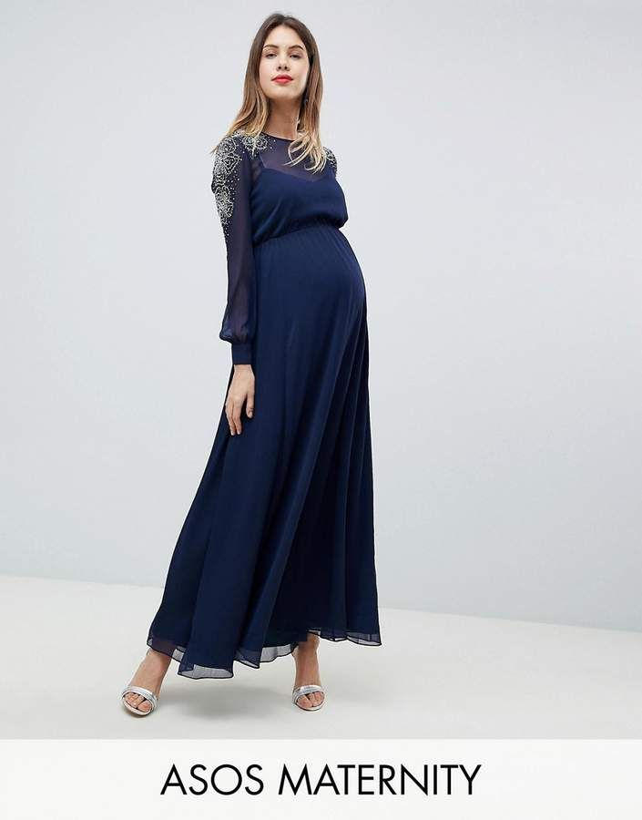 Design Zwangerschapskleding.Asos Design Maternity Sheer Sleeve Maxi Dress With Embellished