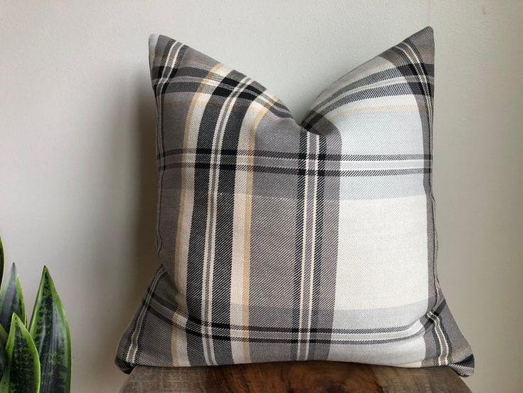 Designer tartan check plaid pillow cover black gray tan cream neutrals natural lodge cabin cushion throw euro sham lumbar holiday Christmas