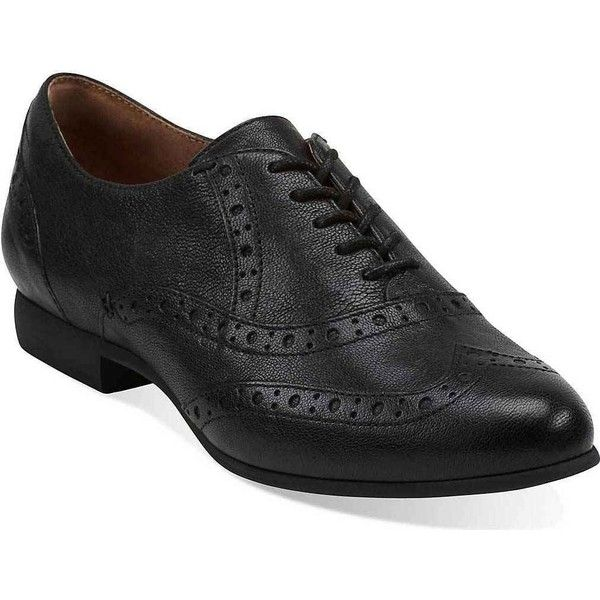 47e07821e8 Clarks Women's Charlie Brogue Black Leather Oxford Shoes ($120) ❤ liked on Polyvore  featuring