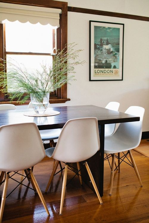 Dark Wood Dining Table And DSW Eames Chairs