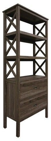 Threshold 3-Shelf X-Bookcase with Drawers