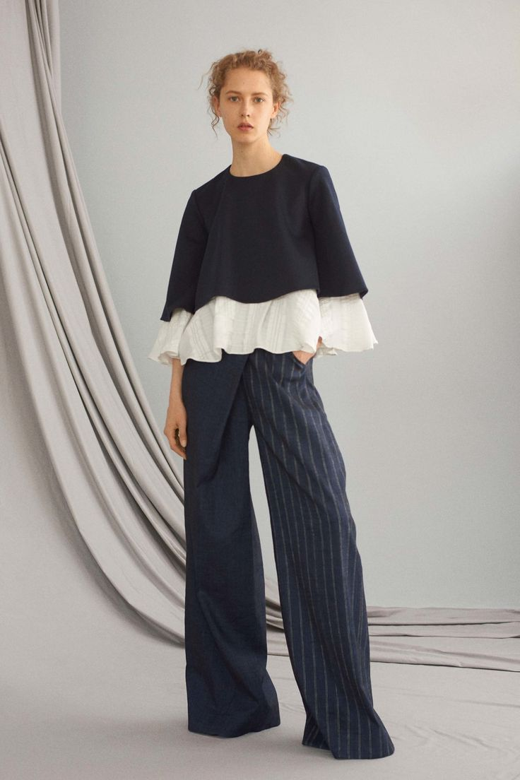 ADEAM Resort 2017 Fashion Show // Layered blouse and wide leg pinstripe trousers