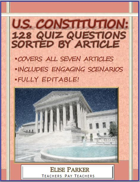 Ramp up your Constitution teaching using these handy and flexible U.S. Constitution Quiz Questions. They also work as Constitution Worksheets! More than 100 U.S. Constitution Quiz Questions, all sorted by Article for convenience, perfect for making quizzes and tests. All files editable so teachers can customize, many questions present critical thinking government scenarios for students to consider!