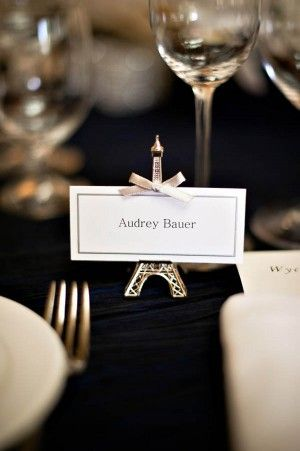 elegant modern napa valley wedding eiffel tower reception place card holder