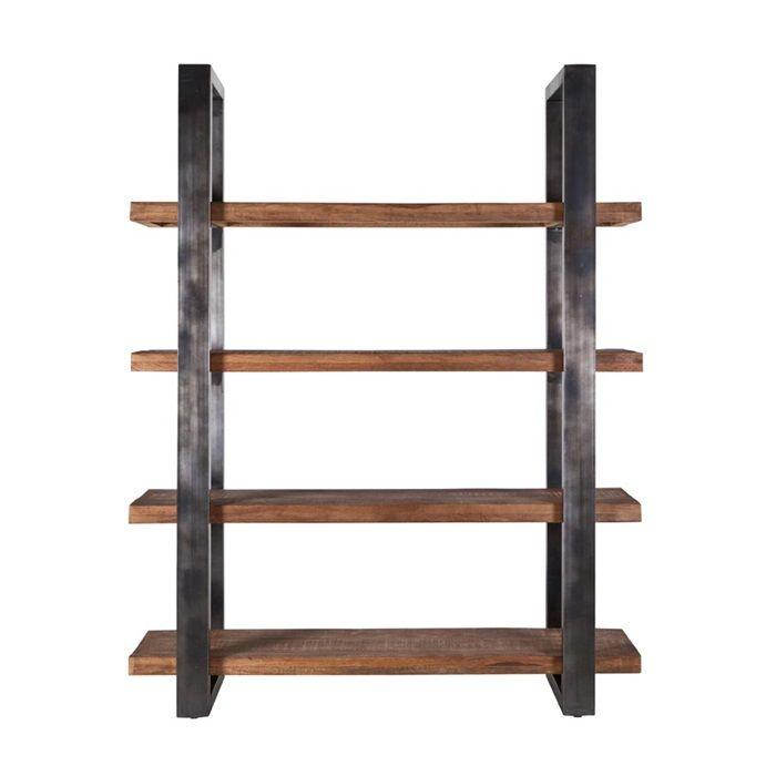 Boekenkast 160 cm met metalen frame is een kast met een stalen ombouw waar 4 robuuste bezaagde planken in liggen van Mago hout. Industrieel look dus.