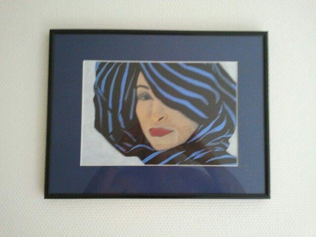 Portret in blauw. Acryl.