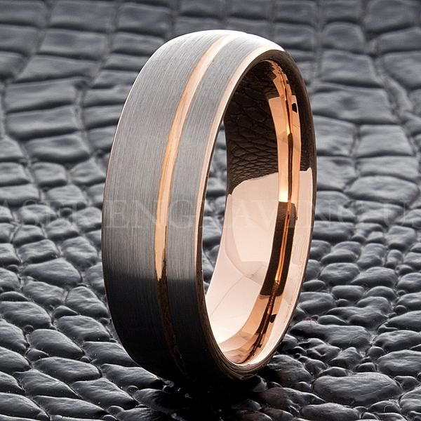7MM Rose Gold Mens Tungsten Carbide Ring Silver Brushed Wedding Engagement Band