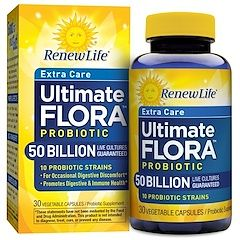 Renew Life, Extra Care, Ultimate Flora Probiotic, 50 Billion Live Cultures, 30 Vegetable Capsules