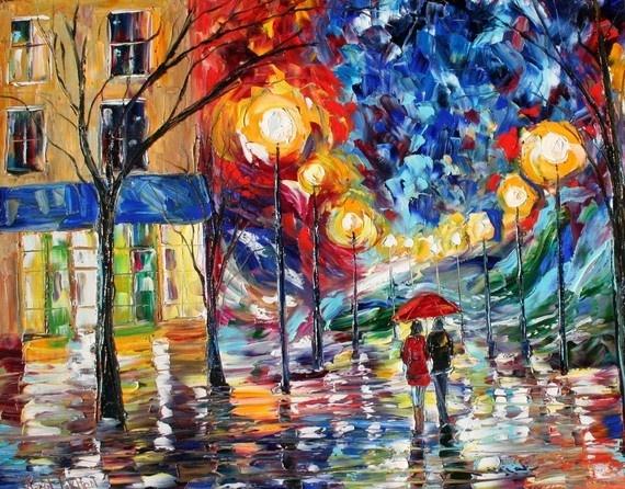 Late Night Romance under the colored rain <3