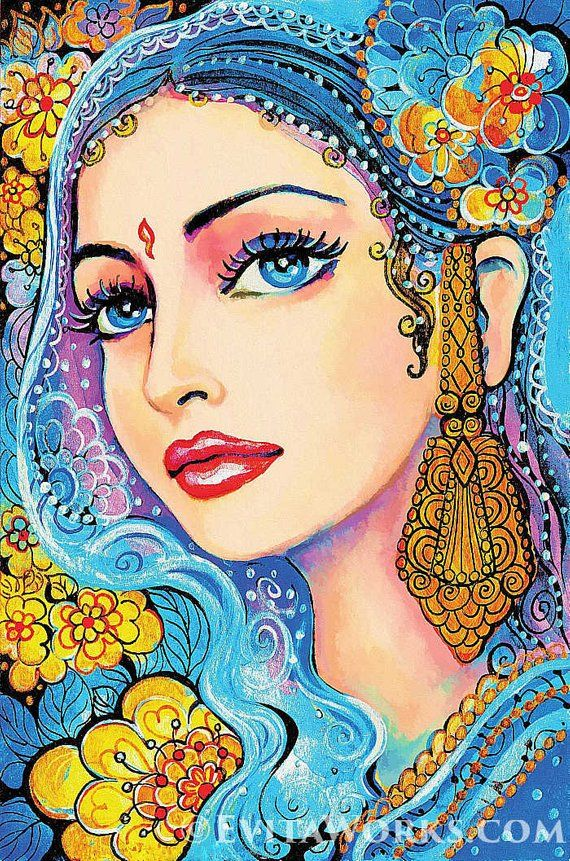 Beautiful Indian Woman Painting Indian Decor Indian Princess