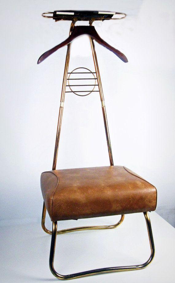 vintage clothing butler - valet chair - rack - Spiegel - for him - 1950s-1960s