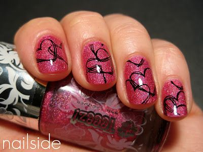 must try: Valentine'S Day, Heart Nails, Nails Art, Nails Polish Art, Nails Design, Thinking Pink, Pink Heart, Valentines Nails, Valentines Day