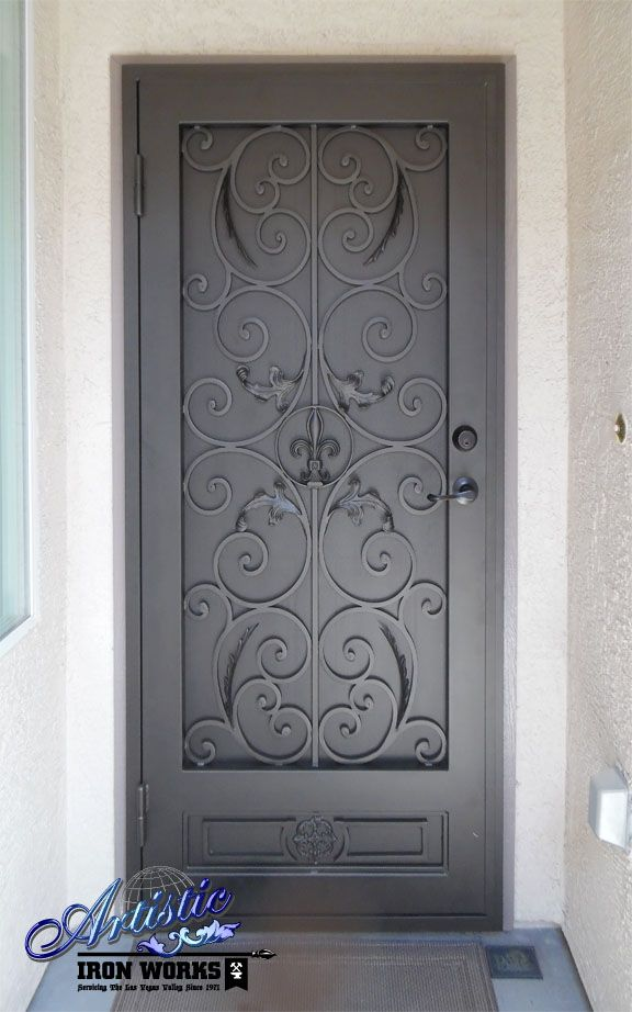 Fleur de Lis wrought iron security screen door