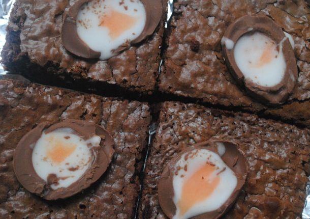 Cadbury Creme Egg brownies recipe: How to make Creme Egg brownies. Student recipe for Easter