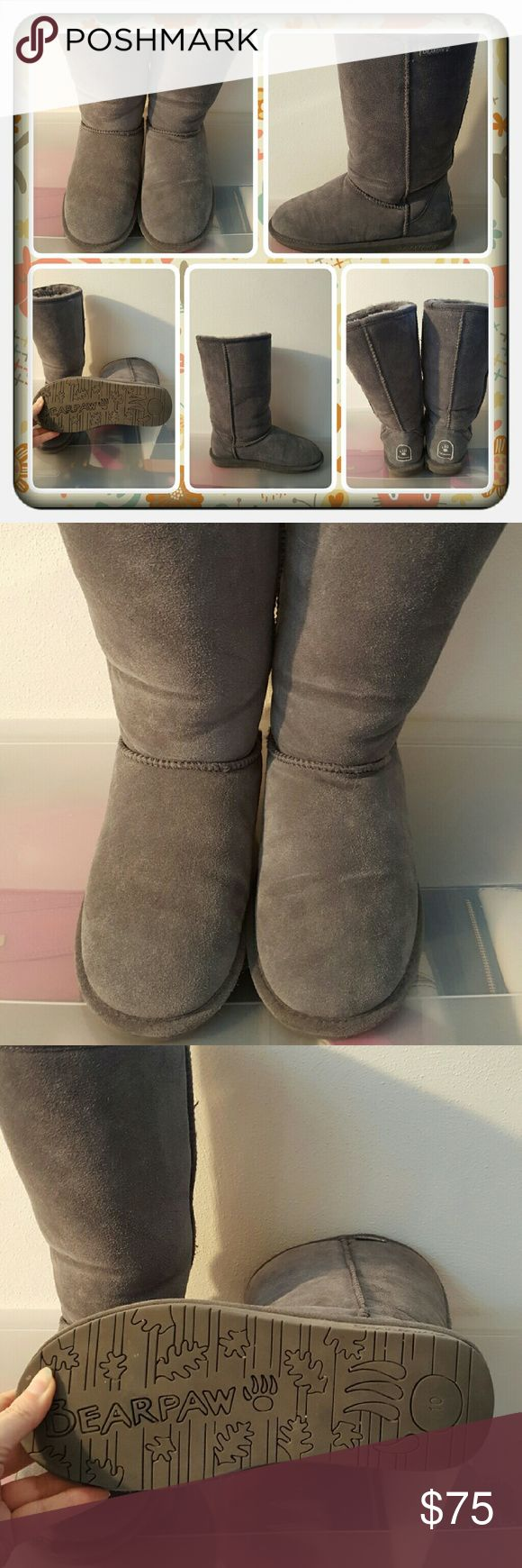 ❤ EUC Woman's Tall Grey Boots Size 10 M ❤ Woman's Tall Grey Boots By Bearpaw Size 10 Medium. I Wore 2-3 Times Excellent Condition No Wear On Heels Or Damage I'm Aware Of. These Are Perfect For Fall & Winter Super Cute  PAYPAL  TRADES  LOWBALLING YOU'LL BE BLOCKED ❤ BearPaw Shoes Winter & Rain Boots
